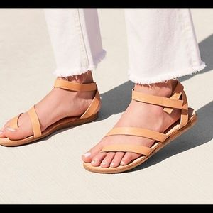 Free People x Avellino Leather Strappy Sandals